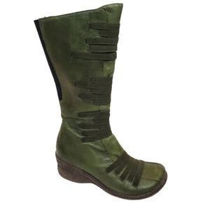 MIZ MOOZ Orso Leather Elastic Wedge Heel Boots …